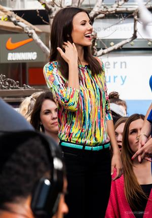 Victoria Justice makes a visit to Extra at The Grove in Los Angeles on March 4, 2013