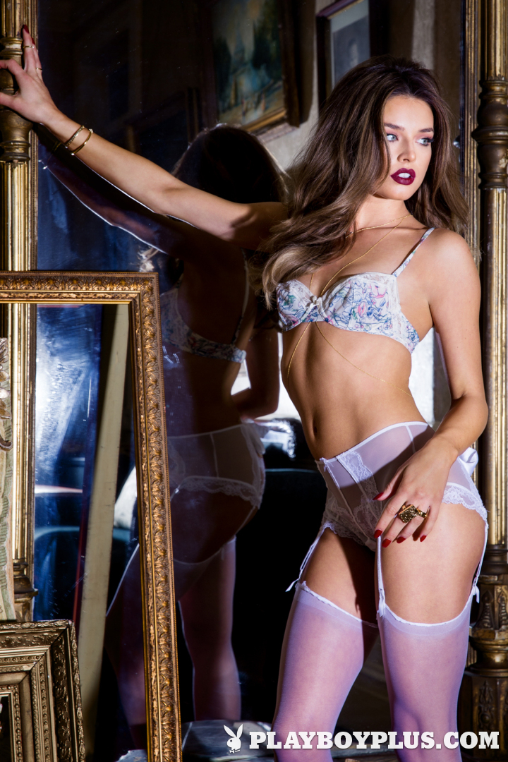 Playboy Cybergirl Brittany Brousseau strips off her lingerie