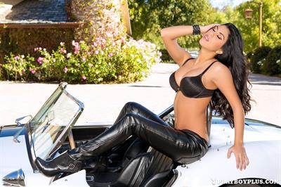 Playboy Cybergirl Autumn Lynn nude on a hot car