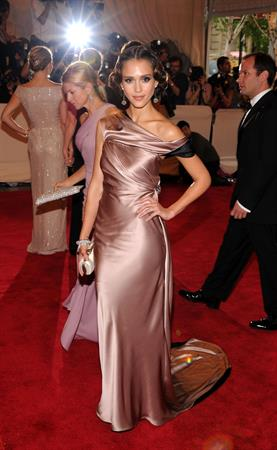 Jessica Alba attends the Metropolitan Museum of Art Costume Institute Gala in New York City on May 3, 2010