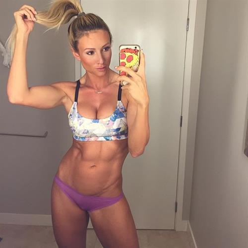 Paige Hathaway in a bikini taking a selfie
