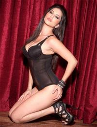 Black Angelica in lingerie
