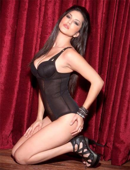Black Angelica in lingerie