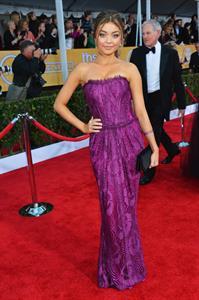 Sarah Hyland at the Screen Actors Guild Awards wearing a purple dress