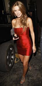 Audrina Patridge in a red dress at Bardot Night Club