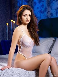 Juliet Curaçao in white see through teddy