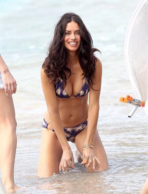 Adriana Lima in a bikini during a photoshoot in St. Barts on January 26, 2012