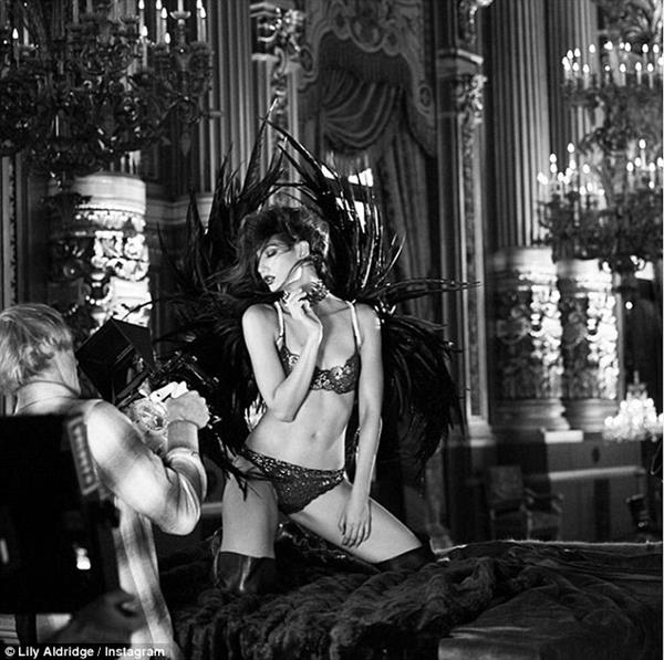 Lily Aldridge poses for Victoria's Secret Holiday Campaign