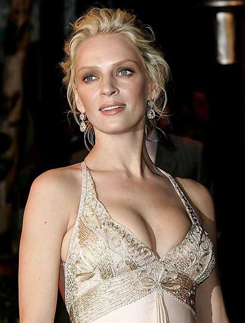 Uma Thurman in a white dress