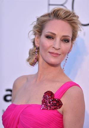 Uma Thurman in a pink dress - amfAR