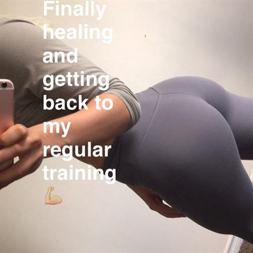 Amanda Bennett in Yoga Pants taking a selfie and - ass
