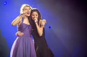 Taylor Swift and Selena Gomez performing at Madison Square Garden in New York, November 11, 2011