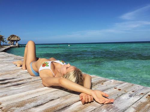 Joy Corrigan in a bikini