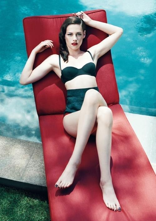 Kristen Stewart in black swimsuit