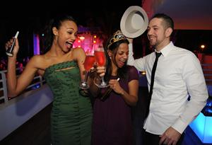 Zoe Saldana Hosts a New Year's Eve bash at James Royal Palm Hotel in Miami Beach December 31-2012