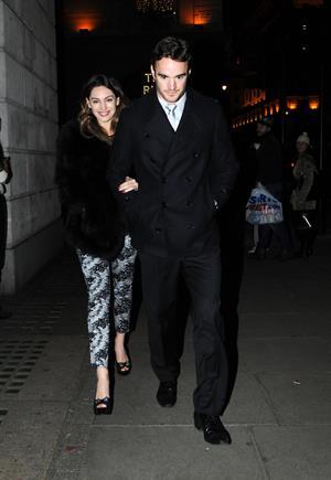 Kelly Brook birthday dinner with Thom Evans at The Wolseley restaurant London November 23, 2012