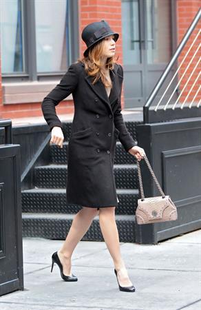 Jessica Biel leaving Justin Timberlake's apartment February 18, 2010