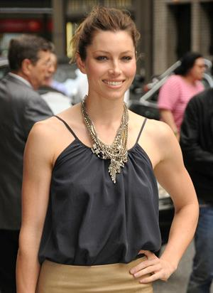 Jessica Biel visits the Late Show with David Letterman in New York City