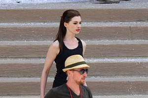 Anne Hathaway set of the Dark Knight Rises in Pittsburgh 4-8-2011