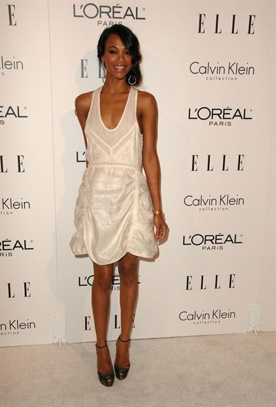 Zoe Saldana arrives for ELLE Magazine 16th Annual Women in Hollywood Tribute Oct 19, 2009