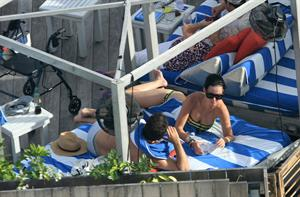 Katy Perry - In a bikini at a hotel pool in Miami July 27, 2012