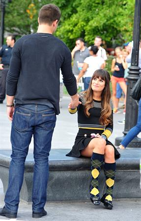 Lea Michele On the Glee set in Washington Square Park, NYC - August 11 2012