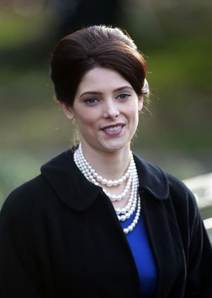 Ashley Greene filming Pan Am at Central Park in New York on December 12, 2011