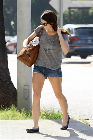 Ashley Greene wearing short shorts outside her home in Los Angeles on October 17, 2011