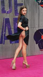 Xenia Tchoumi flashes her bare ass at the Suicide Squad London premiere