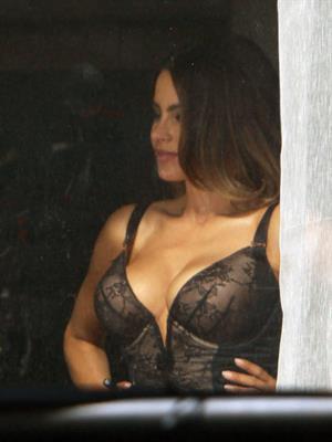 Sofia Vergara - shooting a scene for Fading Gigolo in New York 12/05/12