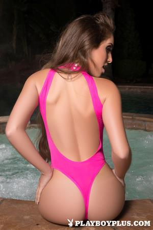 Playboy Cybergirl - Melissa Lori takes off her pink bathing suit