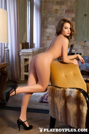 Playboy Cybergirl Clara Nude on a chair with Playboy Plus!