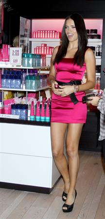 Adriana Lima and Candice Swanepoel Bombshell fragrance launch in Soho on September 25, 2010