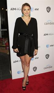 Aimee Teegarden premiere of the 1st social series Aim High held at Trousdale on October 18, 2011