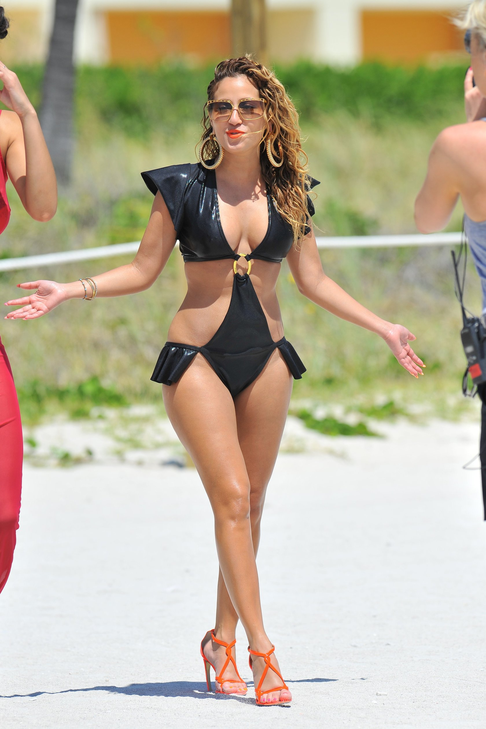 Adrienne Bailon filming scenes for Empire Girls in Miami on April 27, 2012