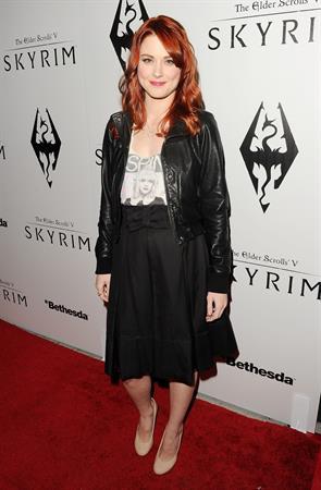 Alexandra Breckenridge attends The Elder Scrolls V Skyrim video game launch party in Los Angeles on November 8, 2011