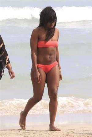 Alexandra Burke bikini candids Miami March 7, 2011
