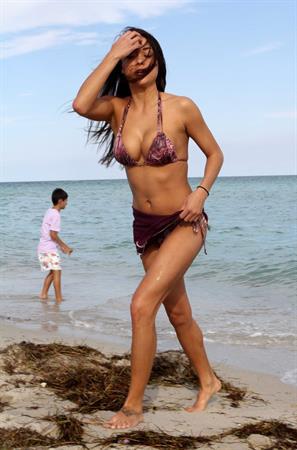 Arianny Celeste bikini candids on a beach in Miami on February 16, 2012