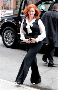 Christina Hendricks opening bell of New York Stock Exchange on March 21, 2012