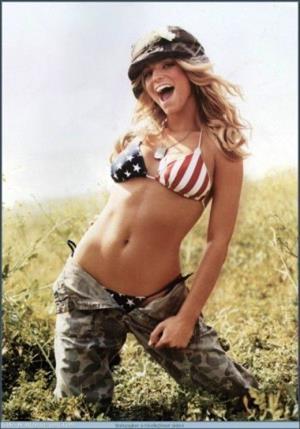 Jessica Simpson in an American Flag bikini