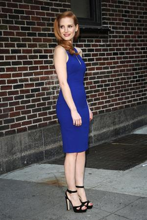 Jessica Chastain (upsizes) at the Late Show with David Letterman in New York 1/7/13