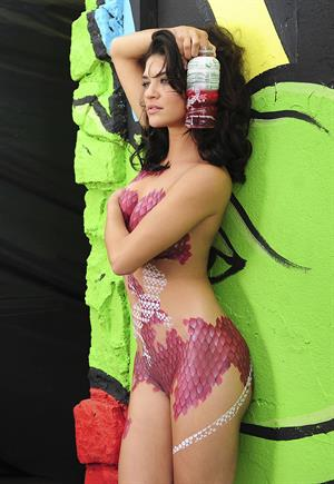 Jessica Szohr Sobe Lifewater body paint photoshoot