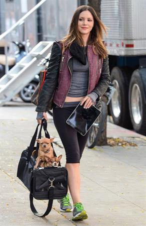 Katharine McPhee on the set of 'Smash' in the East Village on September 25, 2012