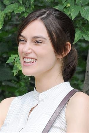 Keira Knightley on the set of 'Can A Song Save Your Life' in Central Park 8/7/12