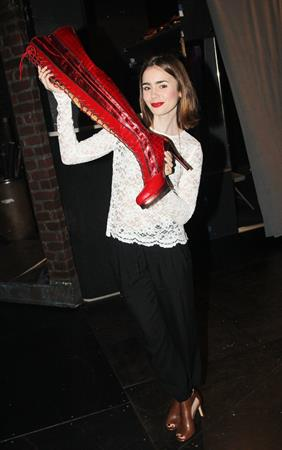 "Lily Collins ""Kinky Boots"" backstage candids 10/17/13"