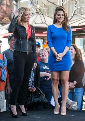 Maria Menounos on the set of Extra in LA 2/26/13