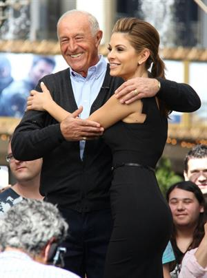 Maria Menounos On set of Extra in LA on April 19, 2013