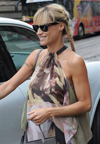 Michelle Hunziker Seen at Atelier Trussardi in Milan on June 27, 2013