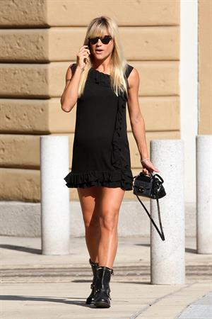 Michelle Hunziker at a Park in Milan August 29, 2013