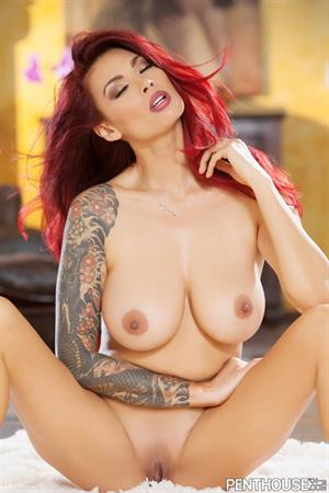Tera Patrick with red hair for Penthouse